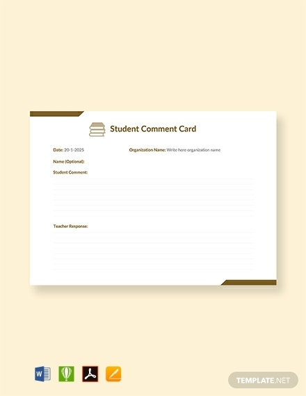 student comment card template