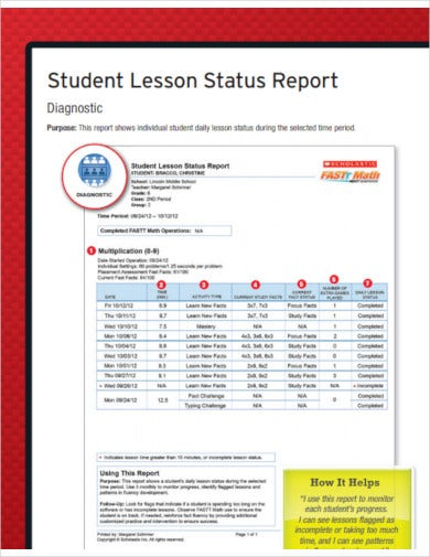 student lesson status report