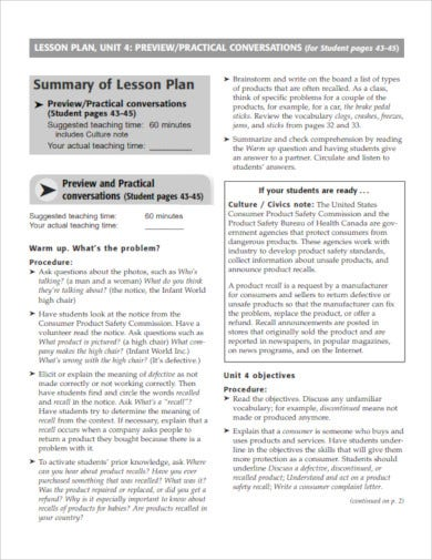 summary of lesson plan