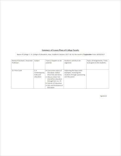 summary of lesson plans of faculty