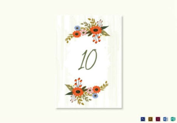 summer floral wedding table card template