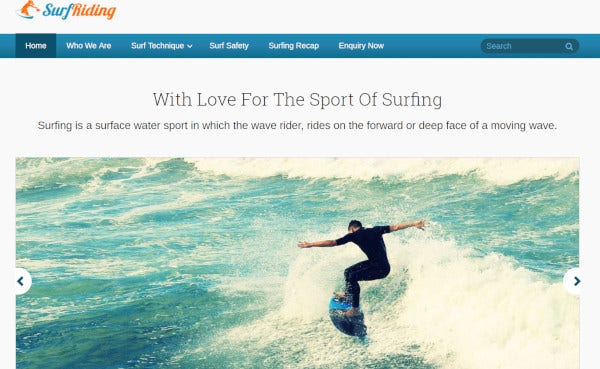 surfriding custom wordpress theme