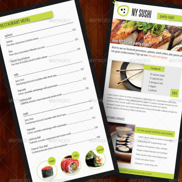 sushi menu catering food brochure