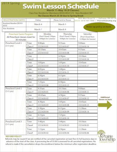 swim lesson schedule