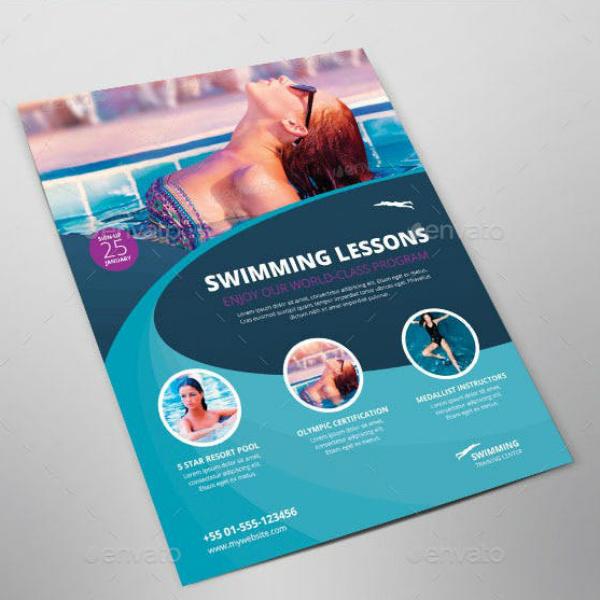 swimming aquatic sports flyer layout