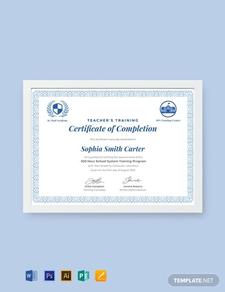 teachers training completion certificate example