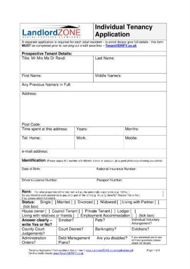 tenancy application form 1