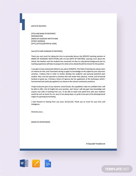 thank you letter after teacher job interview