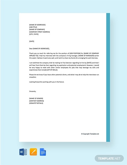 thank you letter to recruiter for arranging interview 2