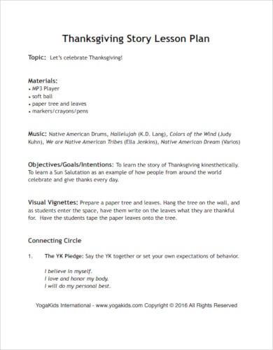 thanksgiving story lesson plan