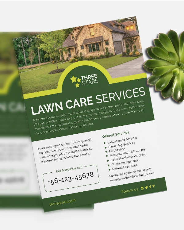 three stars landscaping flyer template