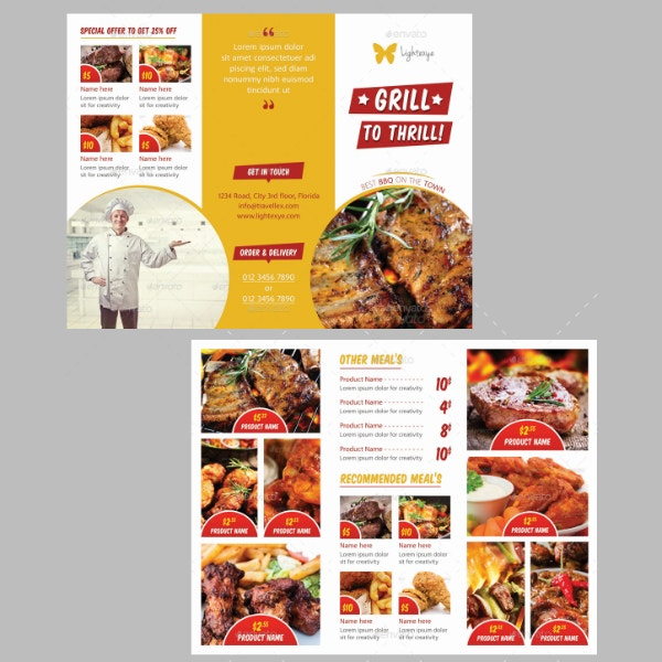 thrill grill barbecue menu template