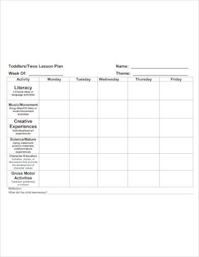 toddler twos lesson plan template