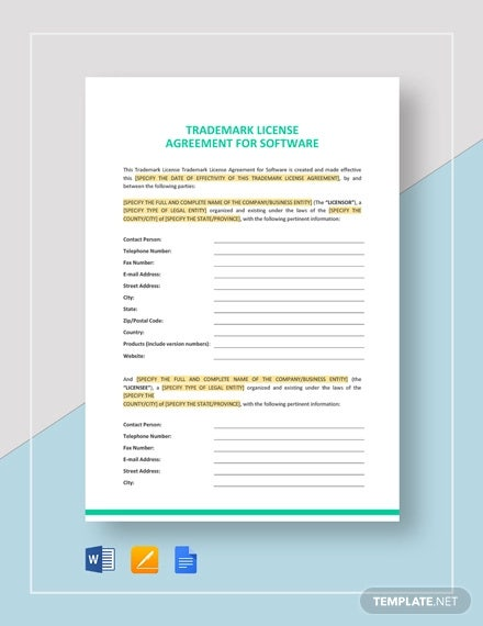 8 Trademark License Agreement Templates Pdf Free