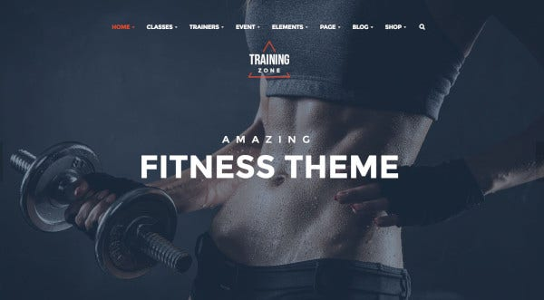 training zone highly intuitive wordpress theme