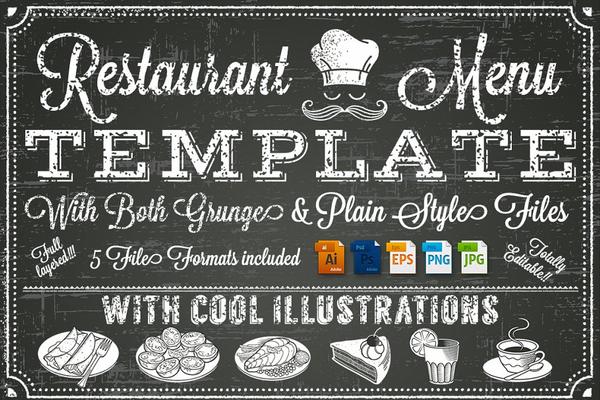 vector chalkboard menu template