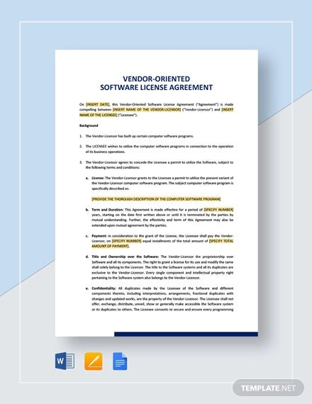 vendor oriented software license agreement template