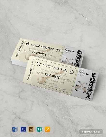 vintage concert ticket template
