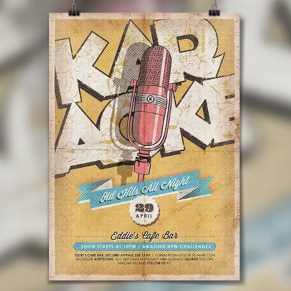 Vintage Karaoke Party Poster Template