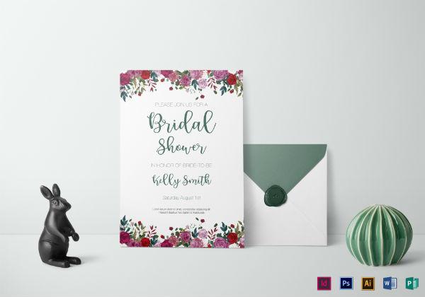 vintage roses bridal shower invitation template