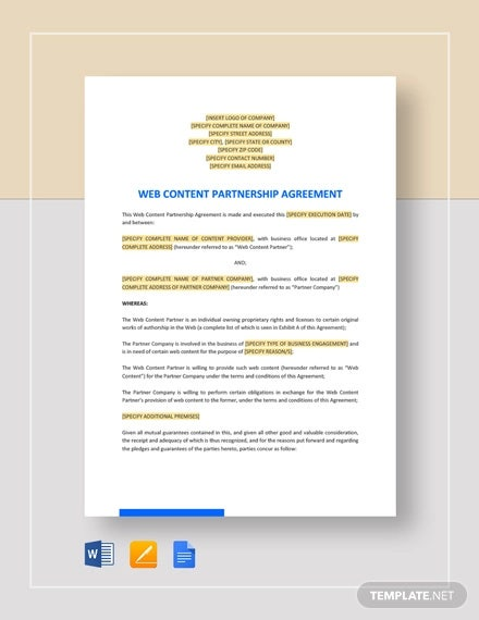 web content partnership agreement template