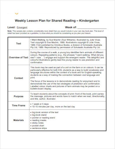 weekly kindergarten lesson plan