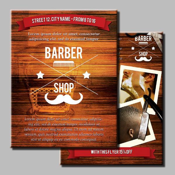wooden barber shop flyer template