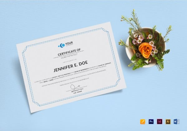 work experience certificate mockup1