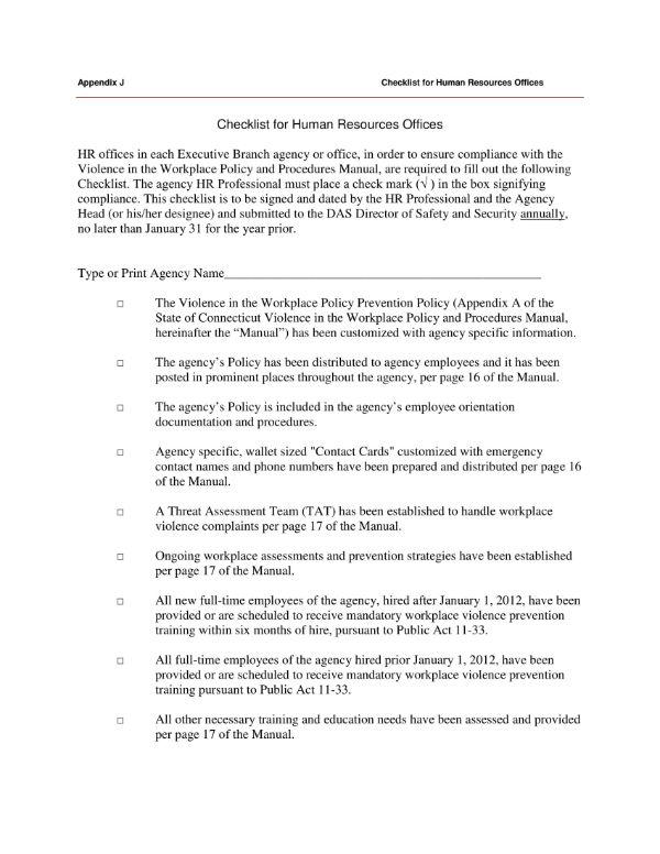 workplace policies hr checklist 1