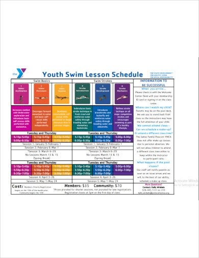 youth swim lesson schedule