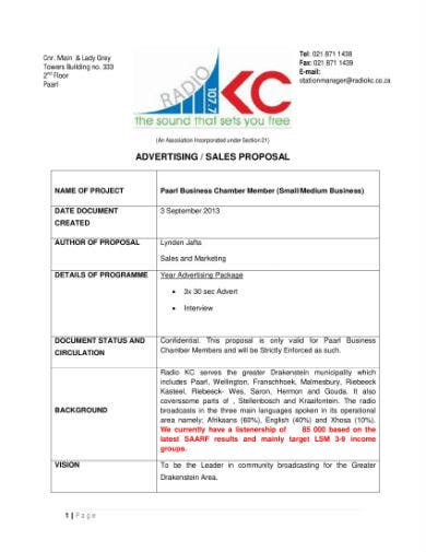 advertising sales proposal 1