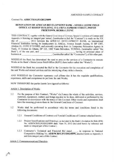 amended sample contract 01
