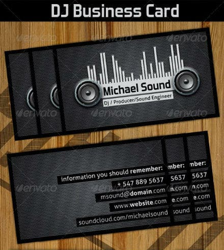 black dj business card preview