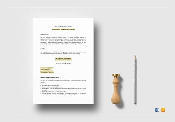 board of trustees report template mockup