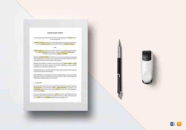 catering contract template mockup