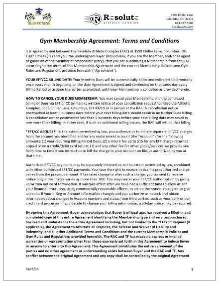 example of gym membership agreement 2016 1
