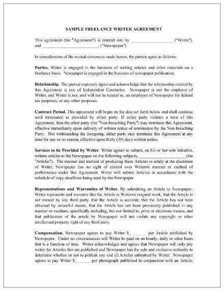 freelance writer contract agreement 1