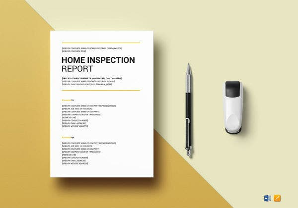 home inspection report template mock up