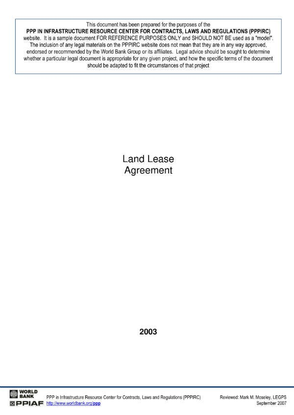 land lease agreement 1
