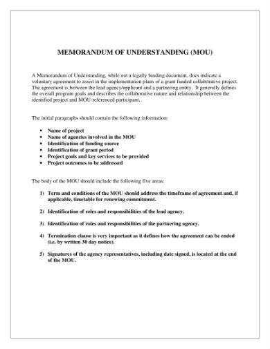 memo of understanding template 1