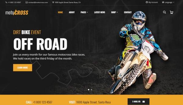 motocross drag and drop wordpress theme
