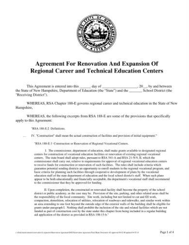 renovations agreement 1
