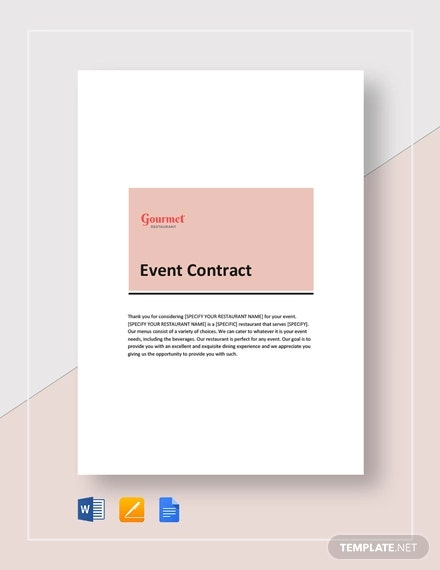 Simple Restaurant Event Contract Template