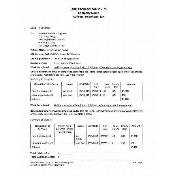 sample archeology invoice template