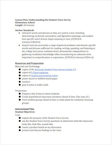 standard elementary lesson plan