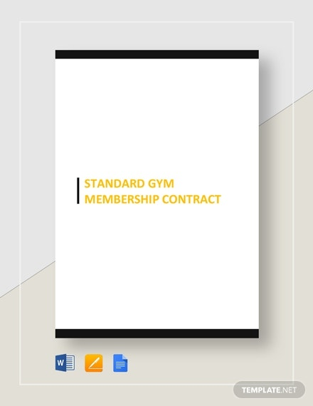 standard gym membership contract 1