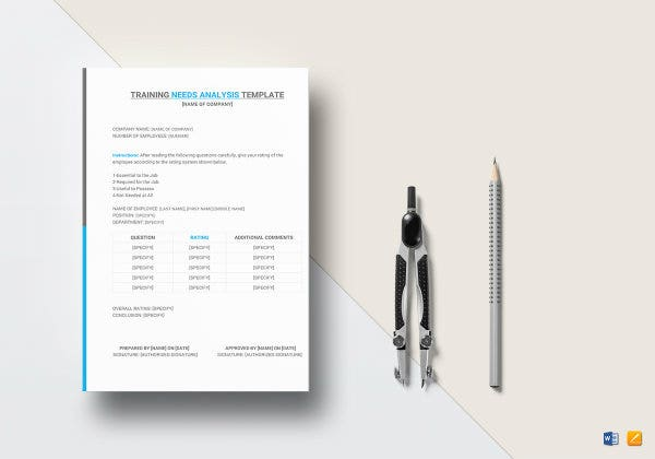 training needs analysis template mock up1