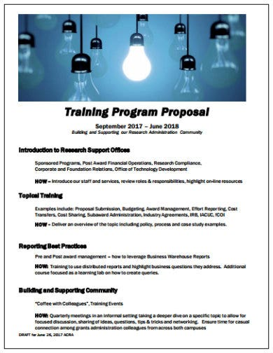 training program proposal