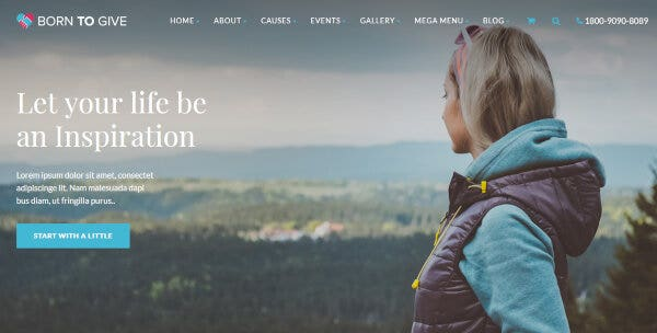 1 born to give – charity crowdfunding responsive wordpress theme