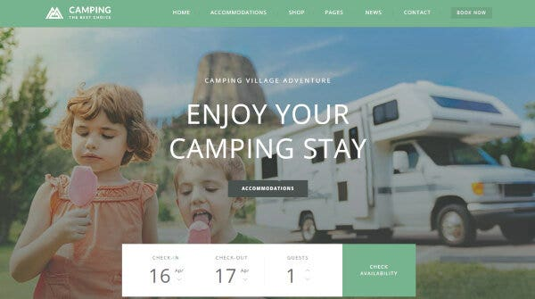 10 camping village – camping wordpress site